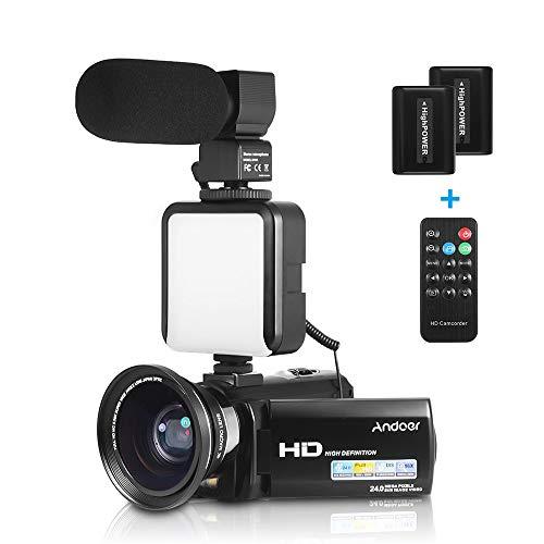 Andoer hdv-201lm 1080p fhd videocamera dv registratore 24mp 16x zoom digitale schermo lcd da 3,0 pollici + extra 0,39 x obiettivo grandangolare + microfono esterno + mini luce esterna led