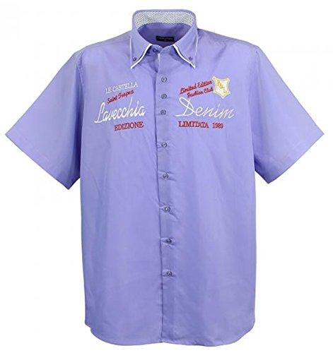 Übergrössen !!! Schickes Kurzam-Hemd LAVECCHIA 211 in Schwarz, Rosa, Kobaltblau Purpur