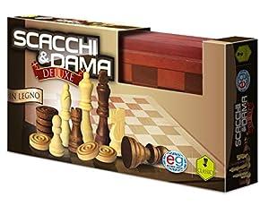 Editrice Giochi 6036101-Juegos Clásicos de Madera Damas y ajedrez