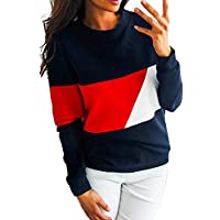 Bellelove ❤ Ms. Kontrast-Rundhals-Pullover, Frühling und Herbst Frauen Casual Coloring Nähte Langarm-Pullover Einfaches Hemd