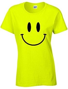 Camiseta de mujer color amarillo neón con estampado de cara sonriente