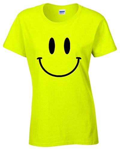 SMILEY FACE Damen Neongelb T-Shirt (36)