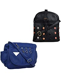 Fillincart Women Blue And Black Colour PU Material Pack Of 2 Sling Bags
