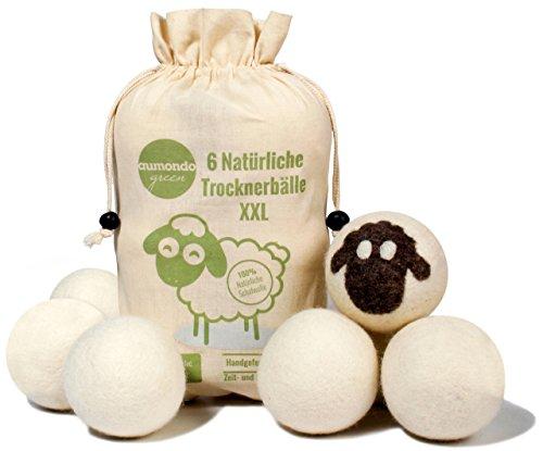 aumondo Trocknerbälle für Wäschetrockner. 6 XXL extragroße Filzbälle aus Schafwolle, der natürliche Weichspüler. Ideal für Daunenjacken. Dryer Balls Trocknerkugeln für Daunen.