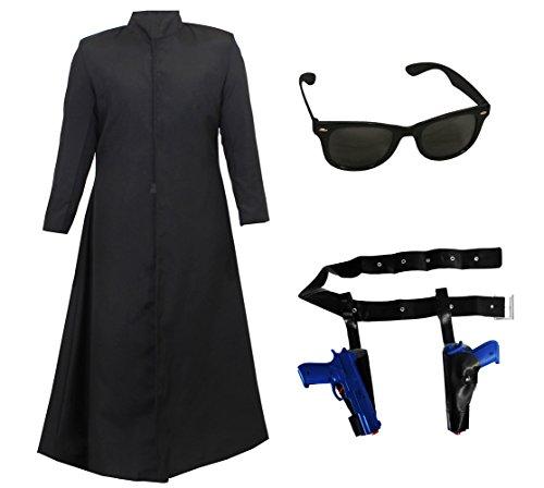 Langer Schwarzer Mantel/Duster + PISTOLENGÜRTEL +2 Plastik Pistolen und Brille +PERÜCKE = KOSTÜM Verkleidung= SUPER VIELSEITIG=ERHALTBAR IN 2 Verschiedenen GRÖSSEN= XLarge