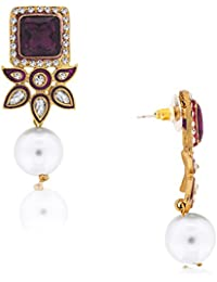 Spargz Antique Purple Alloy CZ Stone Drop Earring For Women AIER 165