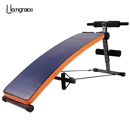 Homgrace Trainingsbank, verstellbar, mit austauschbarem Lederbezug, geneigt, für Sit-ups, Crunches und allgemeines Bauchmuskeltraining