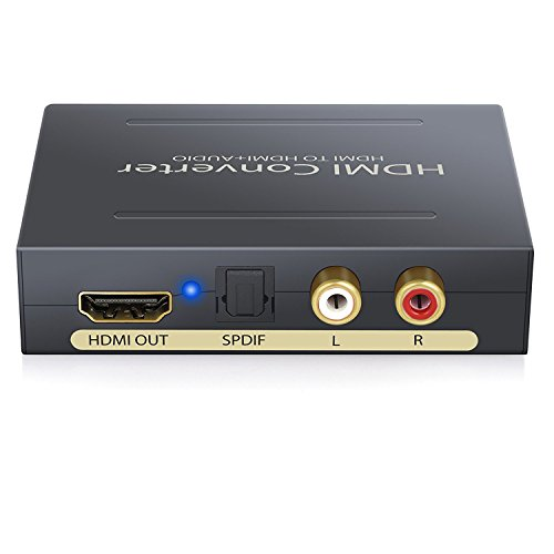 Digital Audio Konverter Digitaler CNHON HDMI zu HDMI SPDIF/Toslink RCA L/R Audio Extraktor Adapter optikaler Ausgang bis zu 2160P für Apple TV Blu-rayDVD Player Xbox One, Schwarz. NO ARC Hdmi Konverter-cinch-kabel
