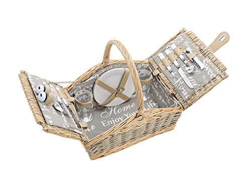 Picknickkorb 2 Personen - 14 TLG Set - Aus Weide Gelfochten Mit Deckel, Keramik Geschirr, Besteck Und Wein-Gläsern