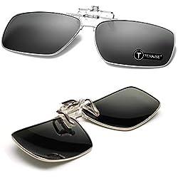 TERAISE Clip de Lunettes de Soleil Polarized Clip-on Sunglassesmen sur Lunettes de Soleil avec Fonction de Flip Adapté à la Conduite de Sports de Plein air