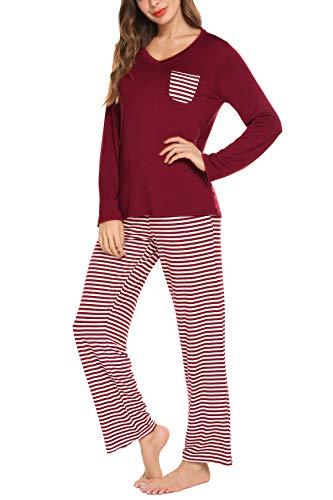 hellow friends Damen 2 Stück Pyjamas Sets mit V-Ausschnitt Tops und gestreifter Hose Baumwolle Nighty Lounge Pj Sets Medium Wein Rot1 - Baumwolle Zwei Stück Pyjama Set