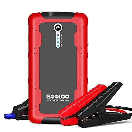 GOOLOO 600A Peak Potente Avviatore da Salto 1500mAh SuperSafe Portable Power Pack Caricabatterie per Auto Booster Phone con Doppia Ricarica Rapida, LED Integrato