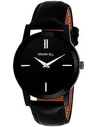 Golden Bell Original Black Dial Black Strap Analog Wrist Watch For Men - GB-835