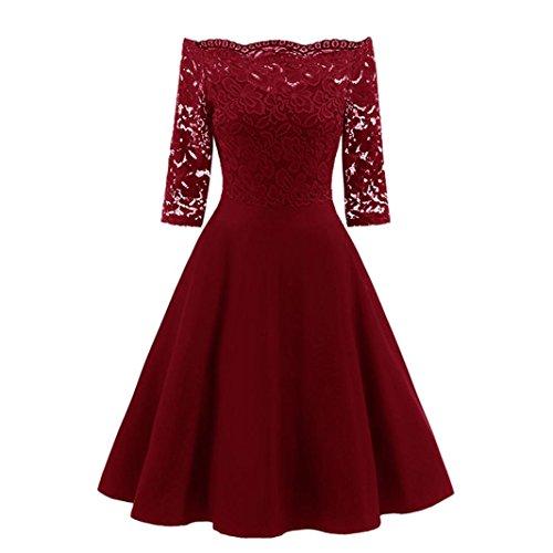 OVERDOSE Damen Vintage 1950er Off Schulter Cocktailkleid Retro Spitzen Schwingen Pinup Rockabilly Kleid Abend Party Kleider(A-Rot,EU-42/CN-XL)