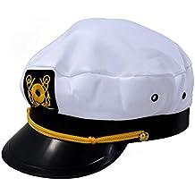 SODIAL(R) Gorra de Marino Marinera Capitan Uniforme Algodon Color Blanco  Negro e57055ce388