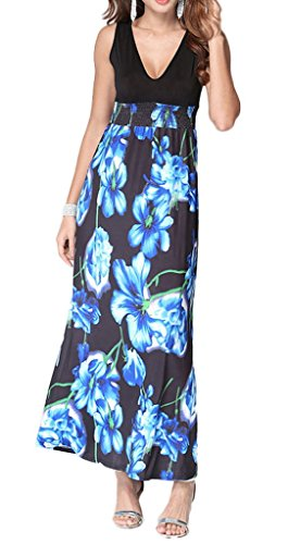 Smile YKK Femme Robe Longue Eupopéen Imprimée Floral Bleu