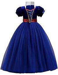 IWEMEK Vestidos de la Princesa Blancanieves Cuento de Hadas Disfraces para Halloween Cosplay Costume para Niñas Vestido de Fiesta Largo de Tulle Ceremonia Comunión Paseo Baile Pageant 5-15