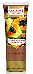Vaadi Herbals Papaya Fairness Scrub Gel with Honey and Saffron, 110g