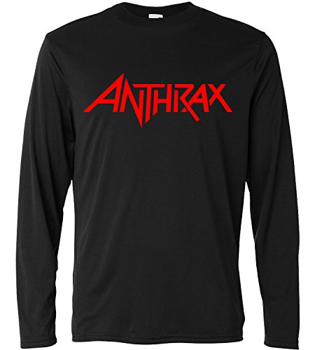 T-shirt a manica lunga Uomo - Anthrax Red Print - Long Sleeve 100% cotone LaMAGLIERIA, L, Nero