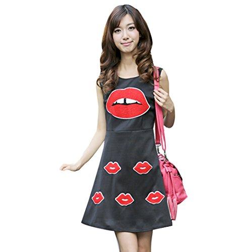 QIYUN.Z Mode Roten Lippen Gedruckt aermelloses O Ausschnitt Slim A-Linie Sommerkleid Frauen Tunika Schwarz