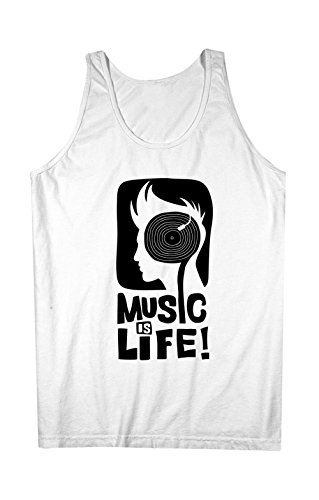 Music Is Life DJ Artist Musician Herren Tank Top Ärmellos Muskelshirt Weiß X-Large (Fitted Womens Life Tank-top)