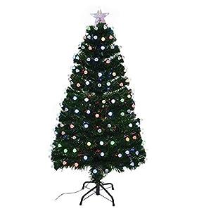 Shatchi 6080-LED-DIAMONDS-TREE-4FT Árbol de Navidad de fibra óptica LED con luces LED para decoración de Navidad, 120 cm, 1,2 m, color verde