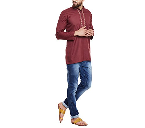 Sojanya (Since 1958) Men's Maroon Cotton Blend short Kurta  available at amazon for Rs.698