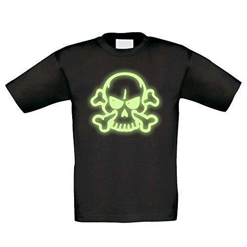 T-Shirt Kinder Halloween -- Böse Totenkopf mit Knochen, schwarz-glow, 122-128