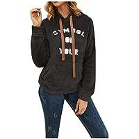 Reooly Damas otoño e Invierno Carta de Color sólido Sudadera de Felpa con Capucha suéter cálido