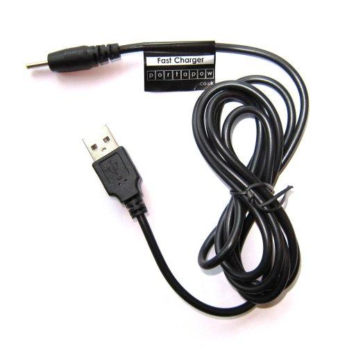 PortaPow 2,5mm x 0,8mm USB Netzteil Ladekabel Ladegerät 5V 2A für Android Tablet (150cm) (Twin Ziele)