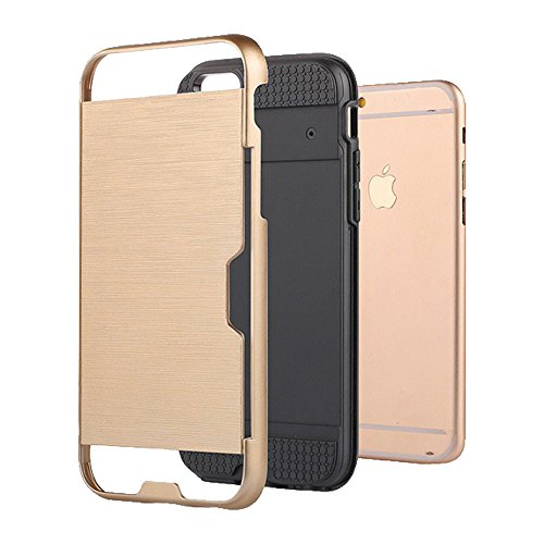 xhorizon MLK [Boîtier Slot Cartes de Crédit] [Pas Portefeuille] Plastique Dur PC TPU DOUX Mélangé Antichoc Couverture de Protection Lourde pour iPhone 7 #3 +9H Glass Tempered Film