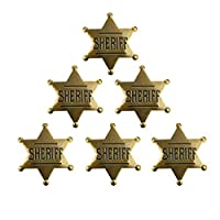 AGDLLYD 6 Pack Metal Sheriff Badge Bronze Western Cowboy Badge Deputy Sheriff