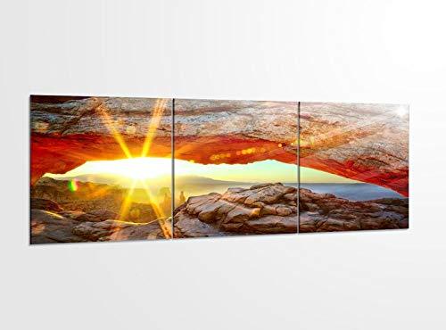 Acrylglasbilder 3 Teilig 150x50cm Landschaft Fels National Park USA_ Acrylbild Bilder Acrylglas Wand Bild Kunstdruck 14?5493, Acrylglas Größe 6:BxH Gesamt 150cmx50cm