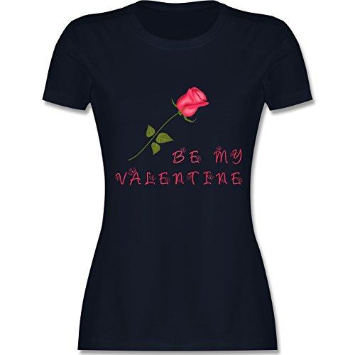 Valentinstag - Be my Valentine Rose Liebe - tailliertes Premium T-Shirt mit Rundhalsausschnitt für Damen Navy Blau