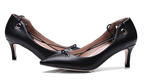 Nere Donna Lacci Attraversato Elegante Scarpe Aisun Punta Punta A 78BvffTF