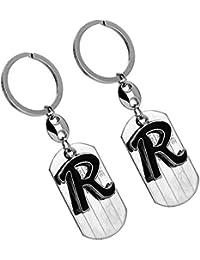 Eshoppee R Letter Alphabet High Quality Metal Keyring Key Chain For Man And Women Set Of 2 Pcs