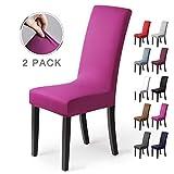 Stuhlhussen 2 Stück, Stretch-Stuhlbezug elastische moderne Husse Elasthan Stretchhusse Stuhlbezug Stuhlüberzug . bi-elastic Spannbezug, sehr pflegeleicht und langlebig Universal (2 Stück,Violett)