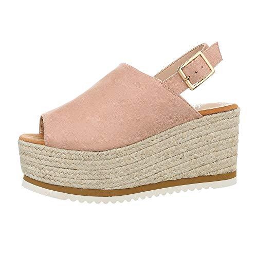 Ital-Design Damenschuhe Sandalen & Sandaletten Keilsandaletten Synthetik Altrosa Gr. 37 (Kleider Für Party Schuhe)