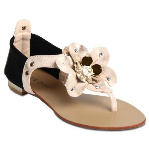 CASPAR Damen Sandalen Sandaletten Zehentrenner mit funkelnder Blume und Strass Steinen - viele Farben - SSA002 Gold