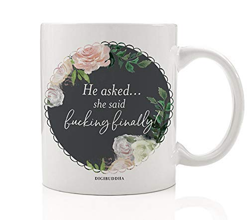 Fucking Finally Sassy Mug Gift Idea for Engagement Bachelorette Parties Wedding Bridal Shower Favors Congratulations Engaged Couple Pretty Floral Blossoms Funny 11oz Ceramic Tea Cup OH0392 (Party Ideen Favor Engagement)