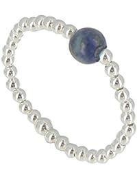 Les Poulettes Bijoux - Bague Bille Argent et Perle de Lapis Lazuli