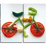 DEKOGLAS   Herdabdeckplatten aus Glas, inklusive Noppen   2er-Set - 2 Stück 30x52 cm   Herdabdeckung, Schneidebrett, Spritzschutz   Gemüse Fahrrad