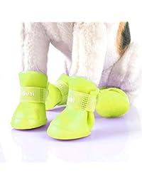 Zapatos para mascotas encantadores para perros Cachorro Botas de goma de color caramelo Zapatos impermeables para