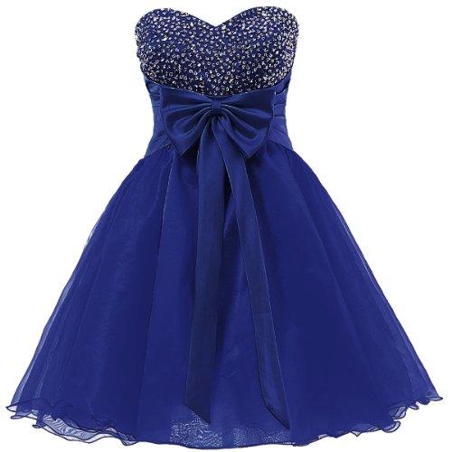 Dresstells, robe de cocktail organza , robe courte mode de bal avec paillettes Bleu Saphir