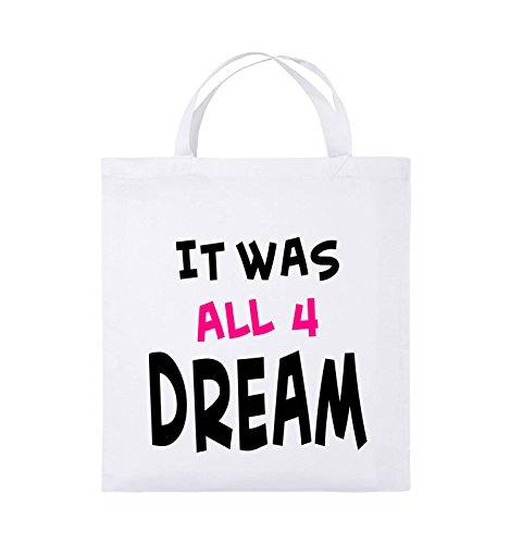 Comedy Bags - It was all four dream - KLEINE ZAHL - Jutebeutel - kurze Henkel - 38x42cm - Farbe: Schwarz / Weiss-Neongrün Weiss / Schwarz-Pink