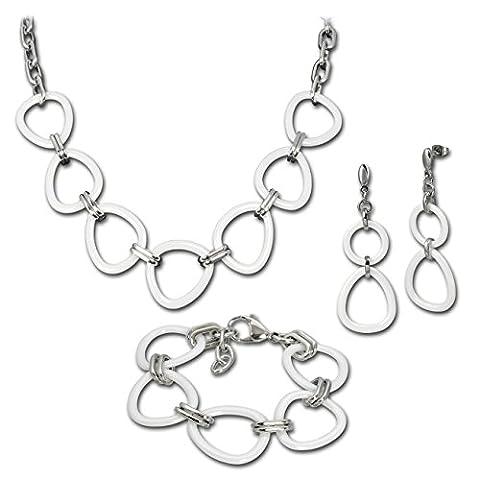 Amello Set Parure en céramique triangle blanc - collier bracelet boucles d'oreilles acier inoxydable femme ESSX07W