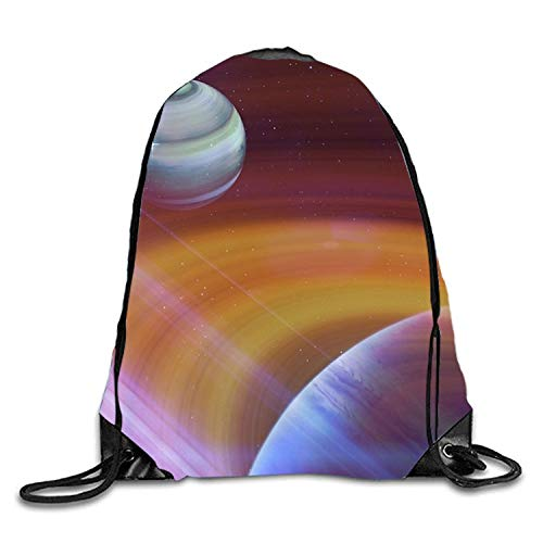 uykjuykj Tunnelzug Rucksäcke, Outer Space Sackpack Drawstring Backpack Waterproof Gymsack Daypack for Men Women Outer space1 Lightweight Unique 17x14 IN