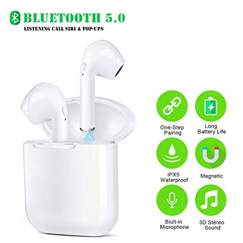 Auriculares inalámbricos, auriculares intraurales True Wireless Bluetooth 5.0, cancelación de ruido, con funda de carga, micrófono incorporado TWS auriculares estéreo compatibles con smartphones