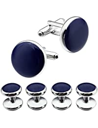 Deeperfetto Blue Onyx with Rhodium Tuxedo Cufflinks and Studs Set/Button for Tuxedo Shirt