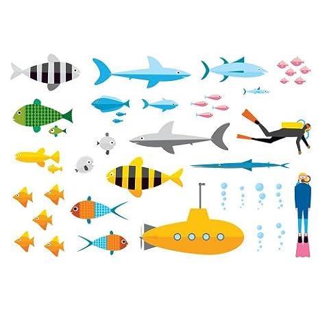 Supertogether 1-Piece Underwater Children's Wall Stickers, Multi-Color